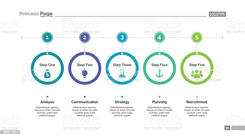 Five Step Process Chart Slide Template royalty-free five step process chart slide template stock illustration - download image now