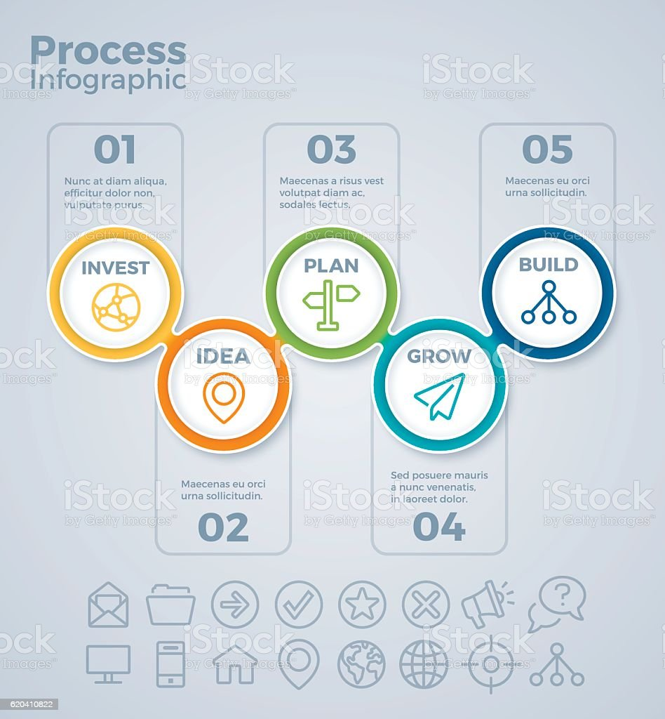 Five Step Process Infographicvectorkunst illustratie