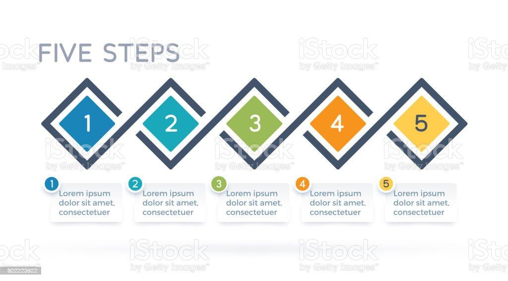 Five Step Process Infographics vector art illustration