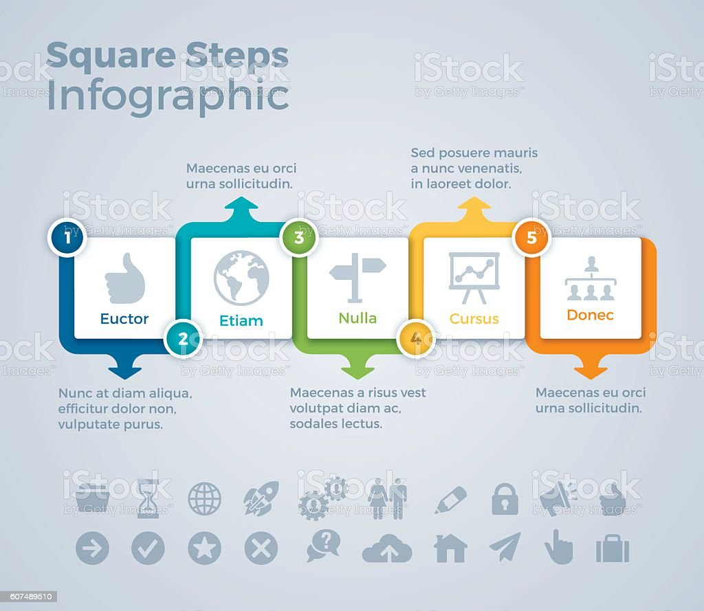 Five Step Squares Infographic Concept vector art illustration