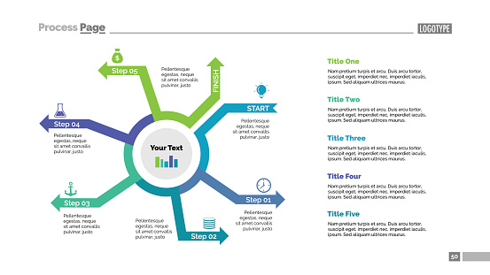 Five Steps Arrows Cycle Slide Template