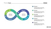 Five steps infinity sign process chart slide template. Business data. Graph, diagram. Concept for infographic, presentation. Can be used for topics like strategy, teamwork.