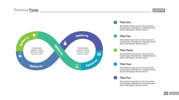 Five Steps Infinity Sign Slide Template Five steps infinity sign process chart slide template. Business data. Graph, diagram. Concept for infographic, presentation. Can be used for topics like strategy, teamwork. five people stock illustrations