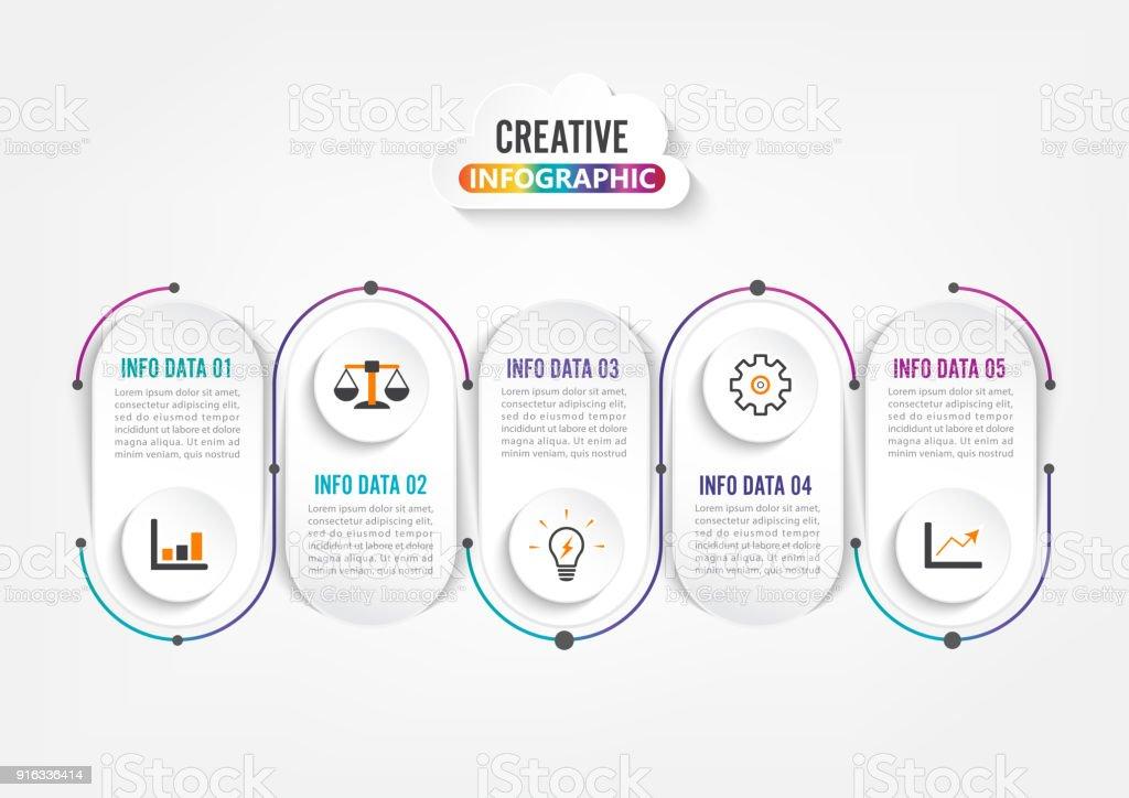 Five Steps Infographics Template For Brochure Business Web Design