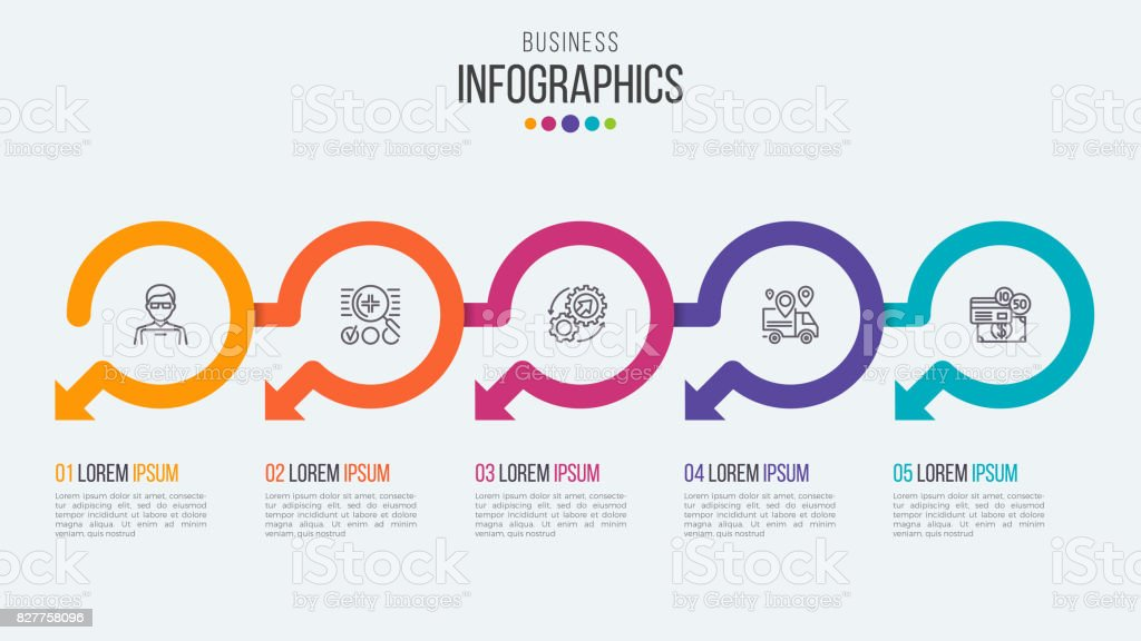 円形の矢印を持つ 5 つのステップ タイムライン インフォ グラフィック