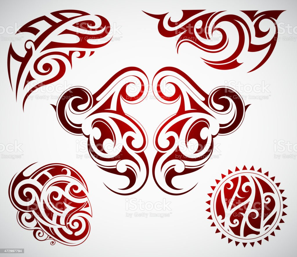 Five styles of Maori ethnic tattoos in red and black vector art illustration