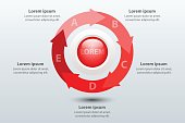 Five topics red arrow chart 3d paper with circle in center for website presentation cover poster vector design infographic illustration concept