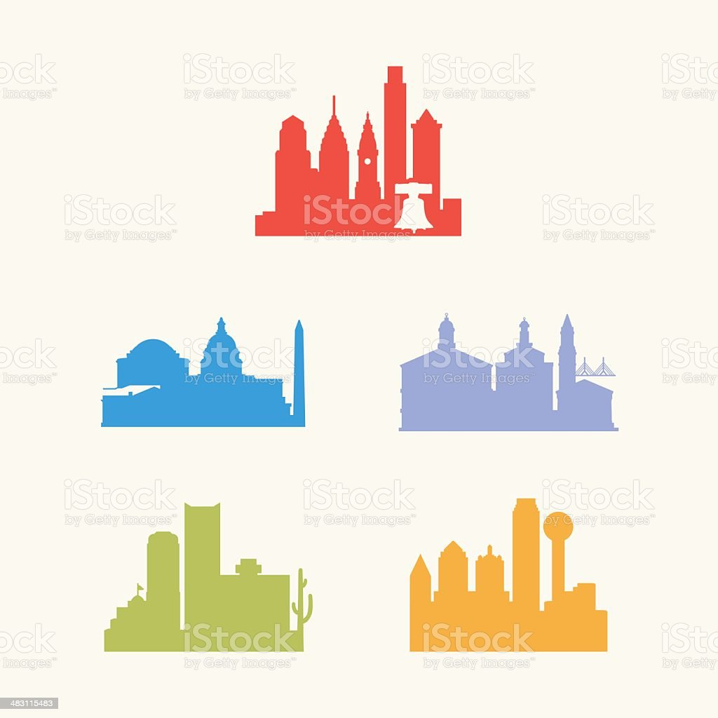 Five United States Cities Skyline vector art illustration