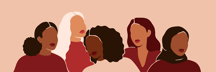 Five women of different ethnicities and cultures stand side by side together. Strong and brave girls support each other and feminist movement. Sisterhood and females friendship.