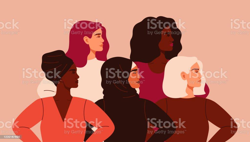 Cinq femmes de nationalités et de cultures différentes se tiennent ensemble. - clipart vectoriel de Adolescent libre de droits