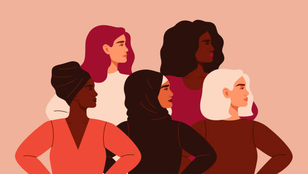 Five women of different nationalities and cultures standing together. Five women of different nationalities and cultures standing together. Friendship poster, the union of feminists or sisterhood. The concept of gender equality and of the female empowerment movement. confidence stock illustrations