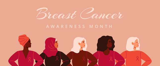 Five women with pink ribbons of different nationalities standing together. Breast cancer awareness prevention month banner.