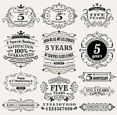 five year anniversary hand-drawn royalty free vector background on paper. This image depicts a paper background with multiple anniversary announcement designs. The beige paper background serves a perfect backdrop for making the anniversary announcements look authentic and elegant. The hand-drawn design are unique and intricate in design and are ideal for your anniversary design announcements.