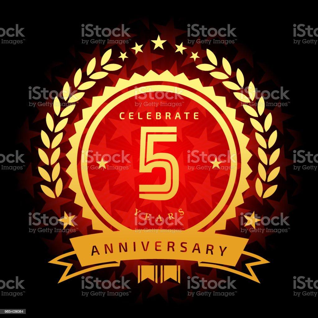 Five year anniversary icon with red color star shape background five year anniversary icon with red color star shape background - stockowe grafiki wektorowe i więcej obrazów baner royalty-free