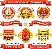 five year anniversary royalty free vector background with golden badges. This image depicts a white background with multiple anniversary announcement designs. The background serves a perfect backdrop for making the anniversary announcements look authentic and elegant. The award badges are unique and intricate in design and are ideal for your anniversary design announcements. The red and gold color makes these badges a perfect award design element.