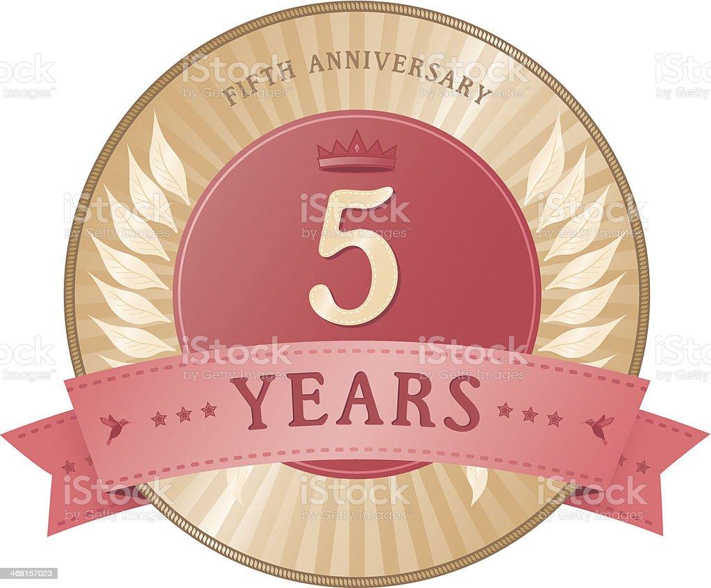 Five Years Anniversary Badge vector art illustration