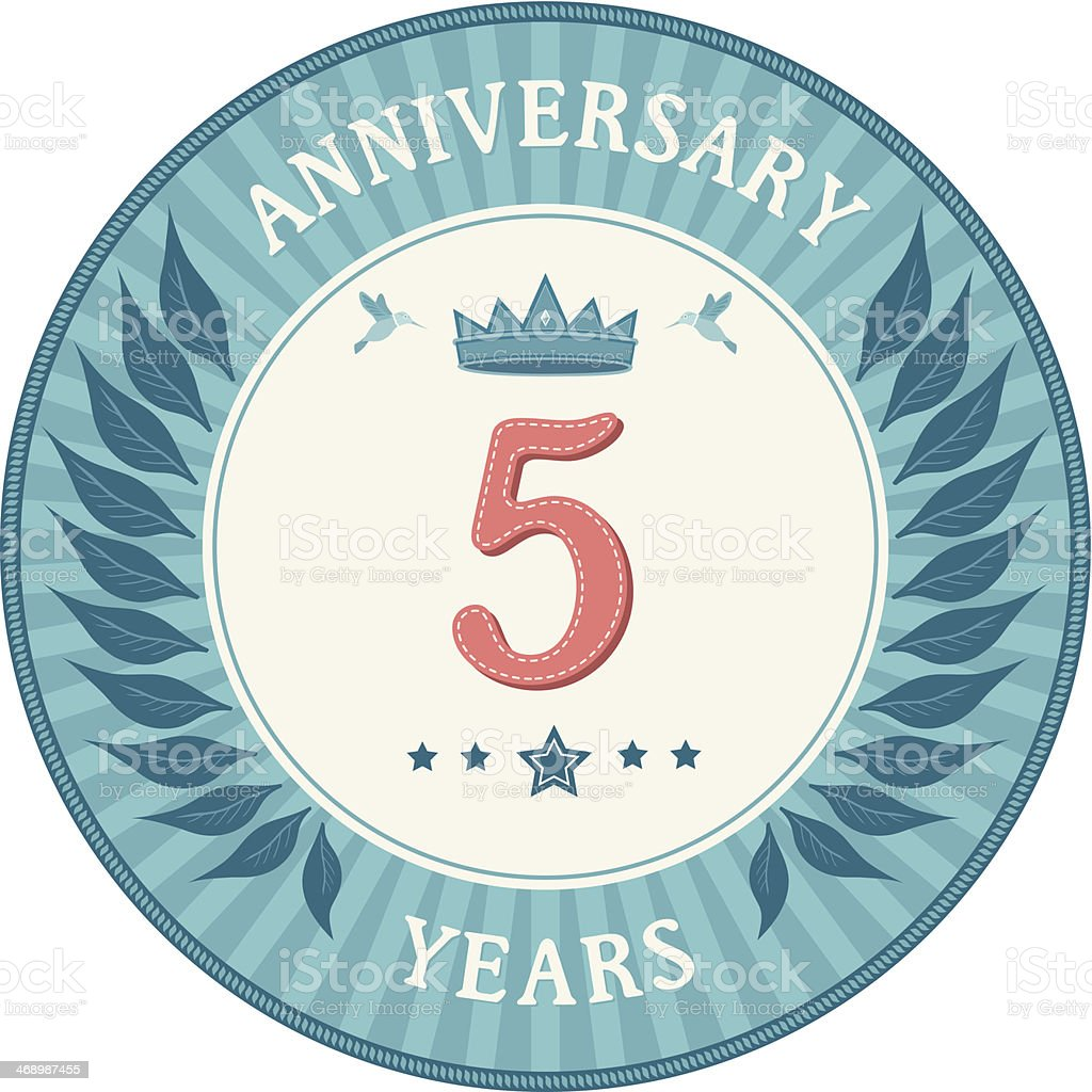 Five Years Anniversary Badge royalty-free five years anniversary badge stock vector art & more images of 4-5 years