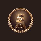 Five years anniversary celebration design. Golden seal vector illustration