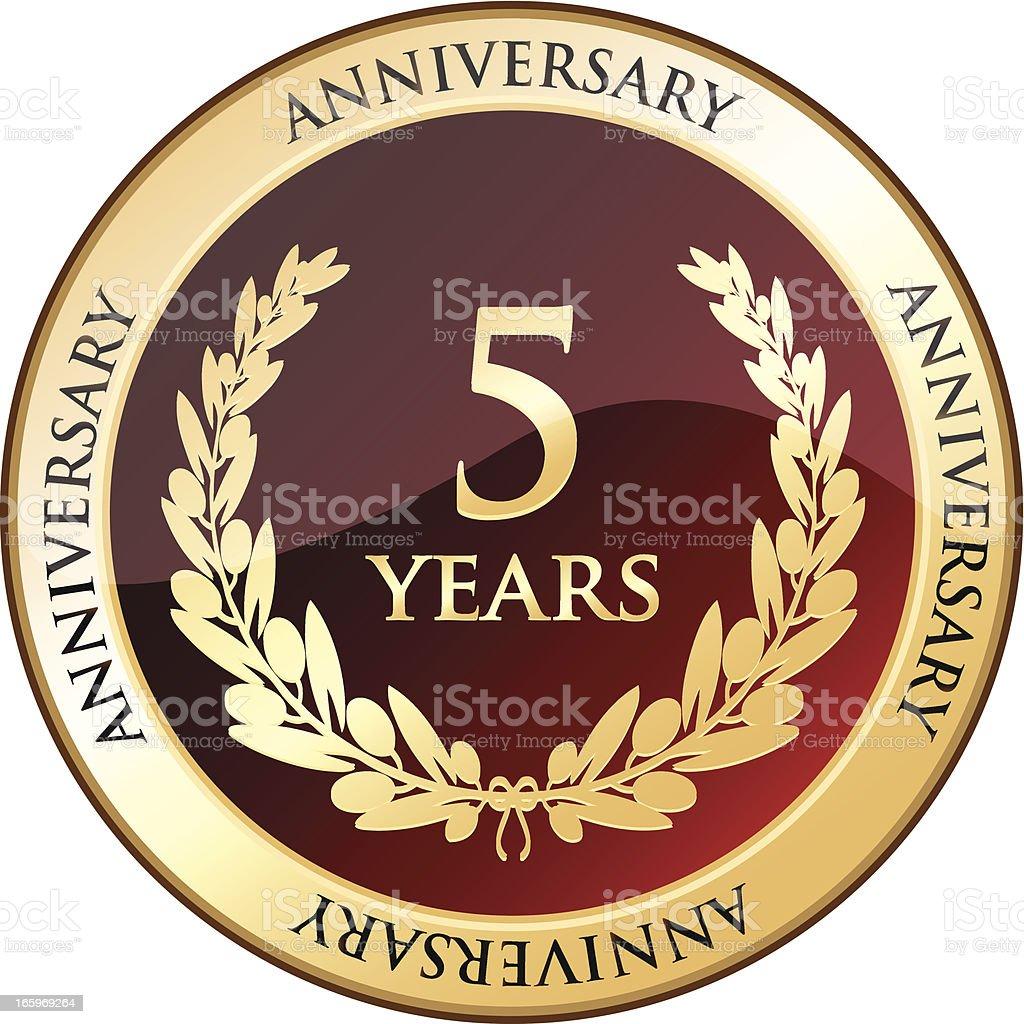 Five Years Anniversary Gold Shield vector art illustration