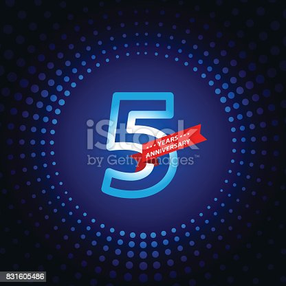 Vector of five years anniversary icon with blue color dot pattern background. EPS Ai 10 file format.