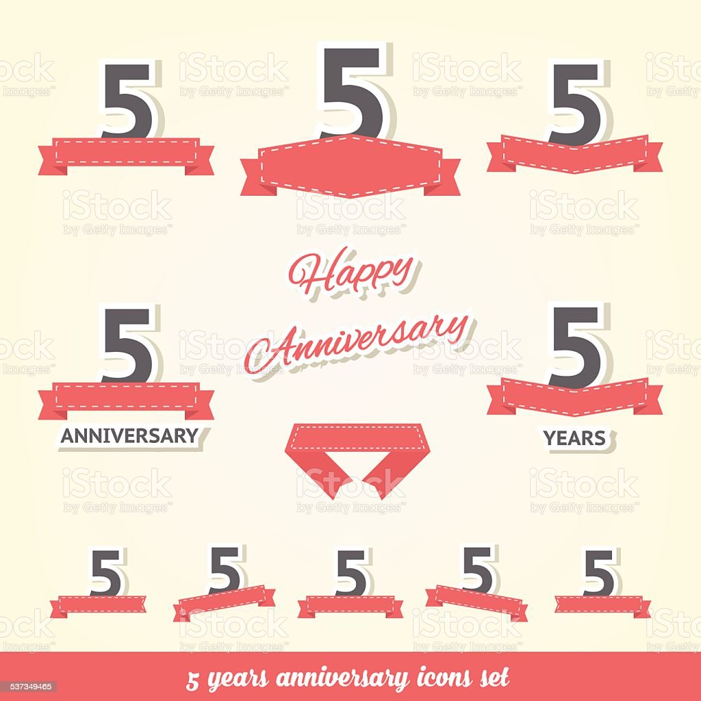 Five years anniversary icons collection vector art illustration