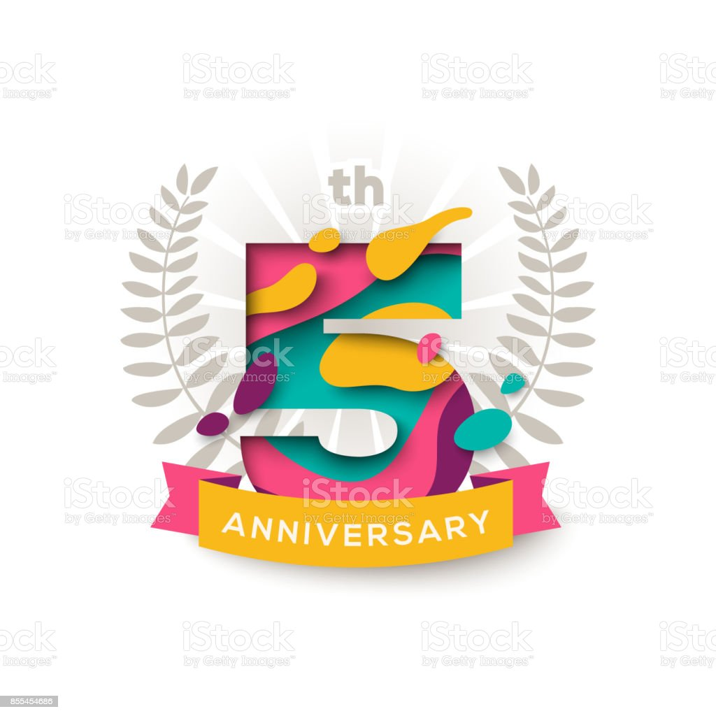Five years anniversary vector art illustration