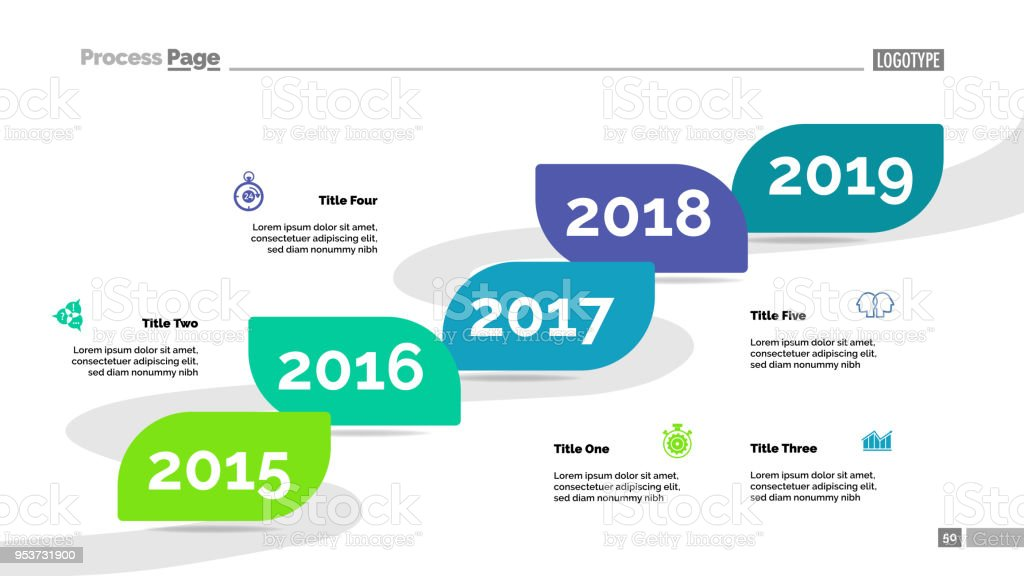 five years timeline process chart template stock vector art more