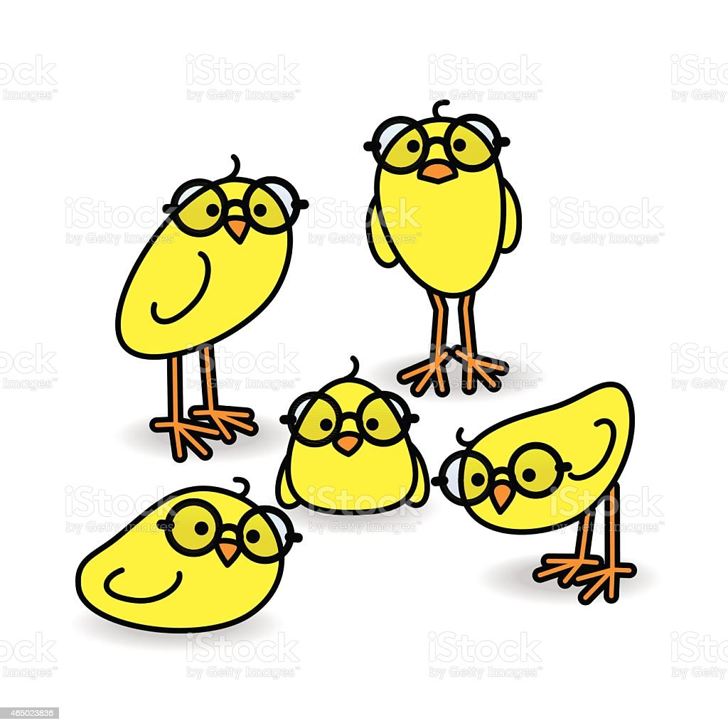 Five Yellow Chicks Wearing Black Round Spactacles vector art illustration