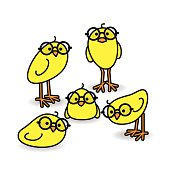 Five Yellow Chicks Wearing Black Round Spactacles