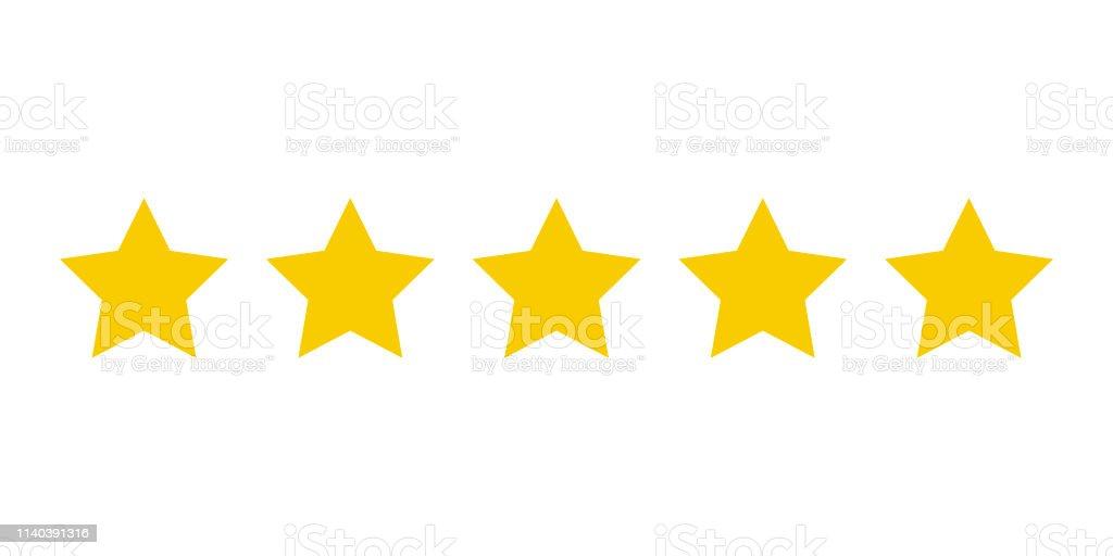 Cinco estrelas amarelas classificação do produto do cliente. Ícone fow aplicações Web e websites. - Vetor de Abstrato royalty-free