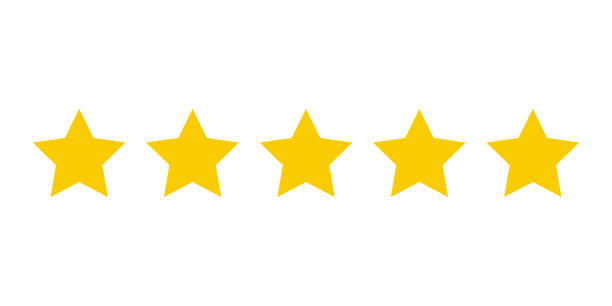 five yellow stars customer product rating. icon fow web applications and websites. - evaluation stock illustrations