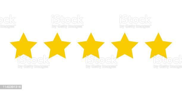 Vetores de Cinco Estrelas Amarelas Classificação Do Produto Do Cliente Ícone Fow Aplicações Web E Websites e mais imagens de Abstrato