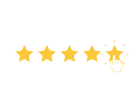Five yellow stars with clicking hand. Quality rank set. Best choice illustration. Hand touching last star. Rating sign. Feedback and review set with simple stars shape. Vector EPS 10