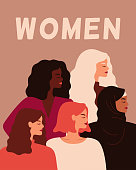 Five Young strong women stand together. Concept of women empowerment, self-acceptance, and gender equality. Vector flat illustration