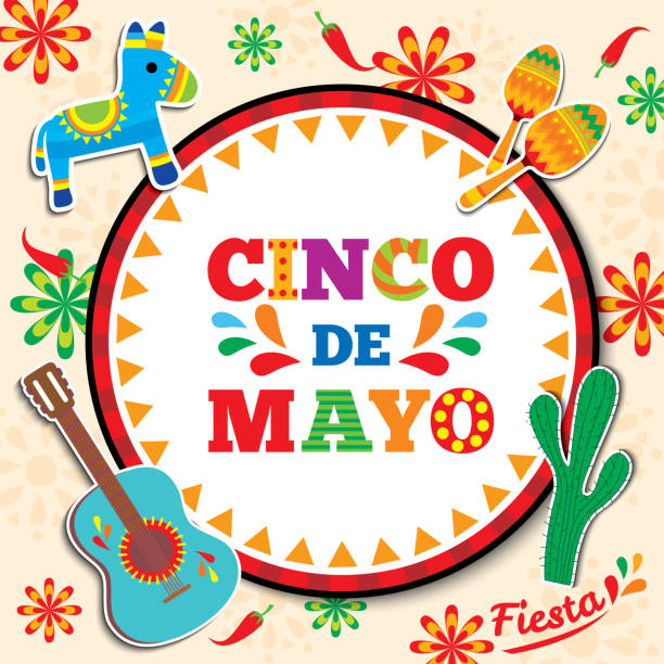 Cinco-de-mayo-5 Cinco de mayo design with circle frame background decorated with maracas, pinata,guitar and cactus cinco de mayo stock illustrations