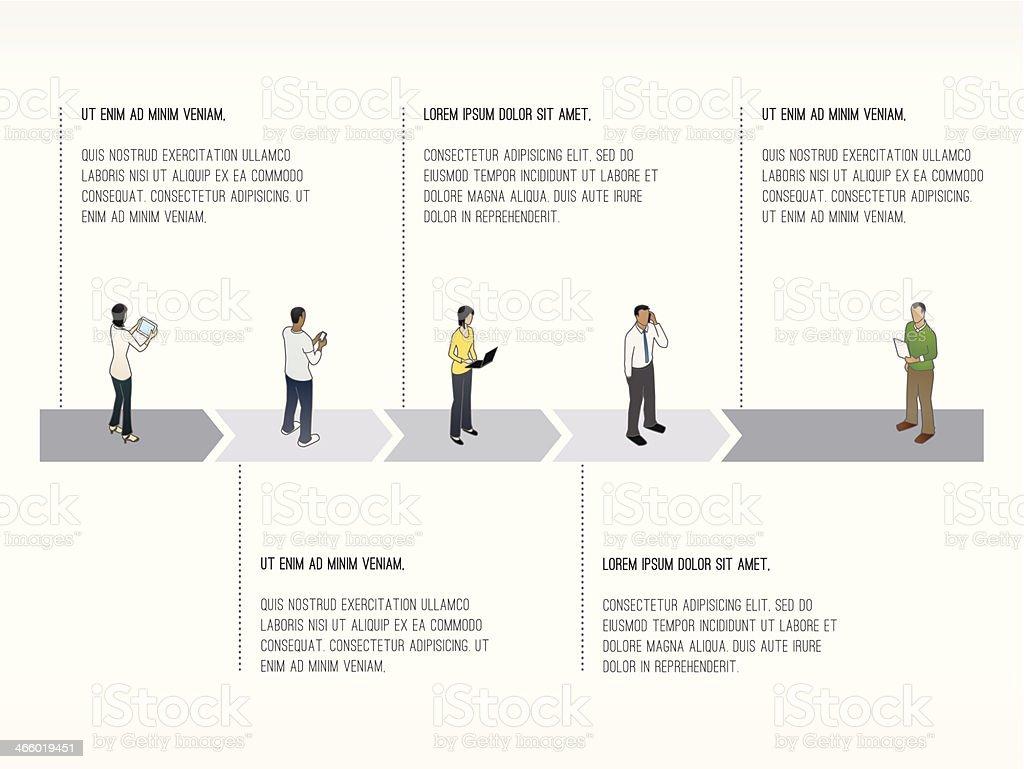 Five-Stage Timeline Slide Template vector art illustration
