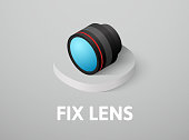 Fix lens isometric icon, isolated on color background