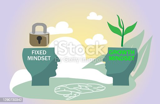 istock Fixed vs growth mindset with open or locked personality. 1290730342