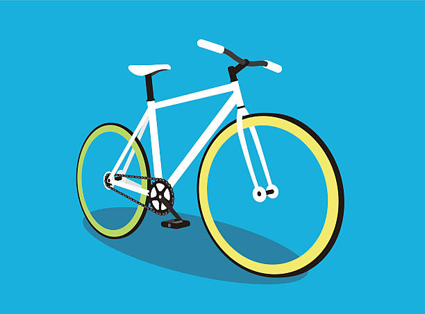 ilustraciones, imágenes clip art, dibujos animados e iconos de stock de fixed-gear bicycle, vector illustration - andar en bicicleta