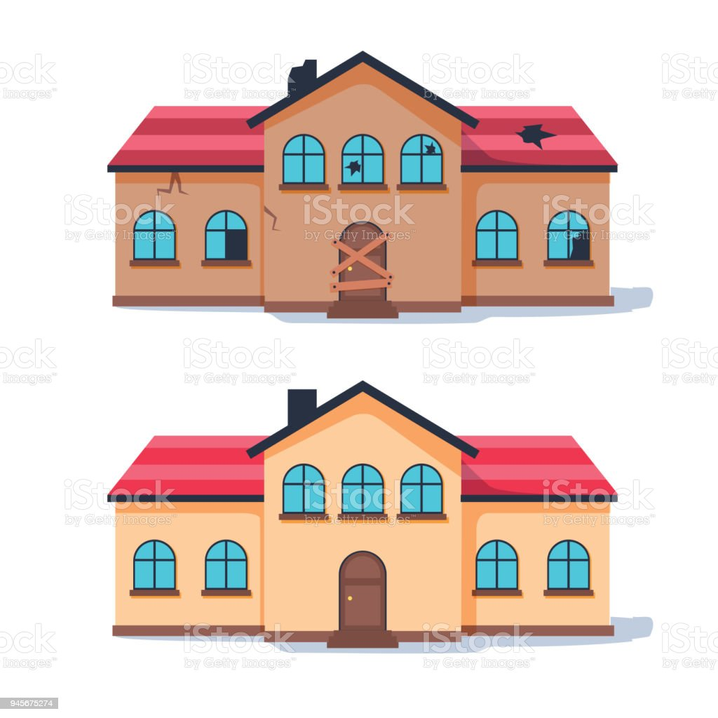Fixer upper home renovation before and after. Old run-down house remodeled into cute traditional suburban cottage. vector art illustration