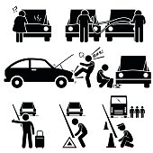 Set of human pictogram representing car breakdown situation where a woman is clueless on what is wrong. Two mechanic also try to jump start a car battery with jump cable. An angry man kicking the car. Changing tire. Man waiting a roadside and putting n triangle as a warning sign.