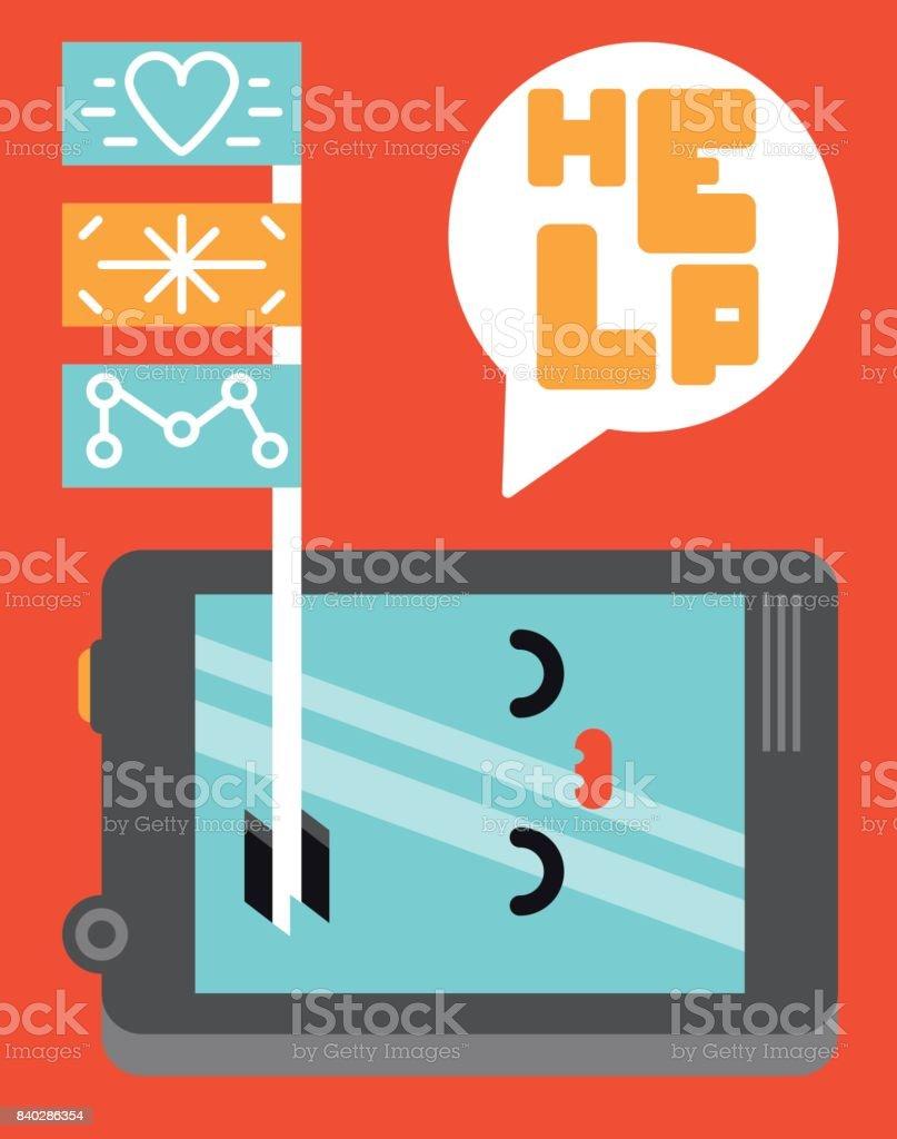 Fixing Broken Screen Mobile Phone Help Repair Improve Technology Accident Flag Warranty Illustration Vector vector art illustration