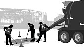 A vector silhouette illustration of a construction crew pouring concrete from a cement mixing truck.  Two worker smooth it out.