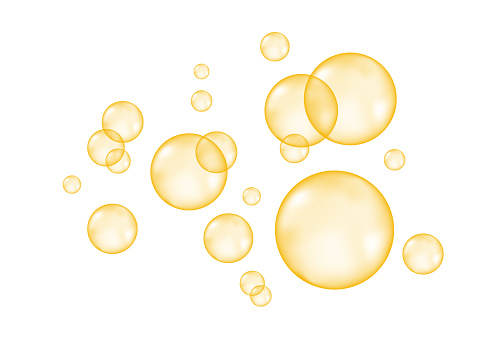 Fizzing  air  golden  bubbles on white  background.