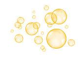 Fizz. Fizzing  air  golden  bubbles on white  background. Vector texture.