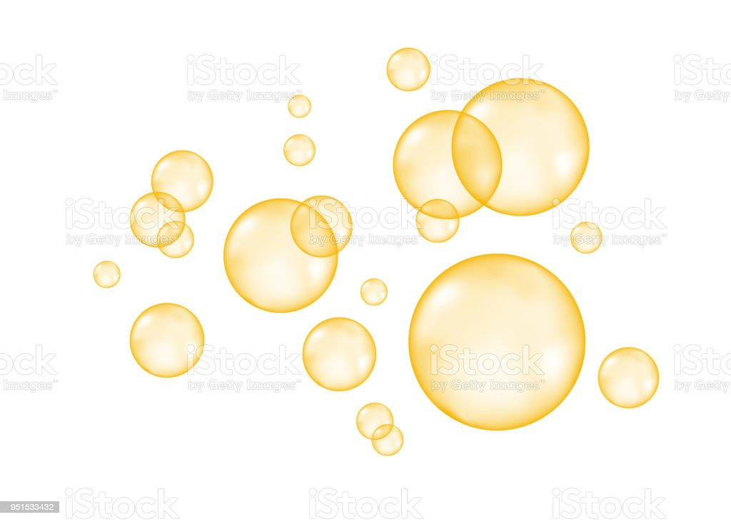 白い背景の上のシューと空気黄金の泡。 ベクターアートイラスト
