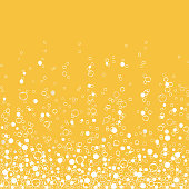 Fizzy drink yellow background, champagne texture isolated on white background. Air bubbles Underwater fizzing. Vector