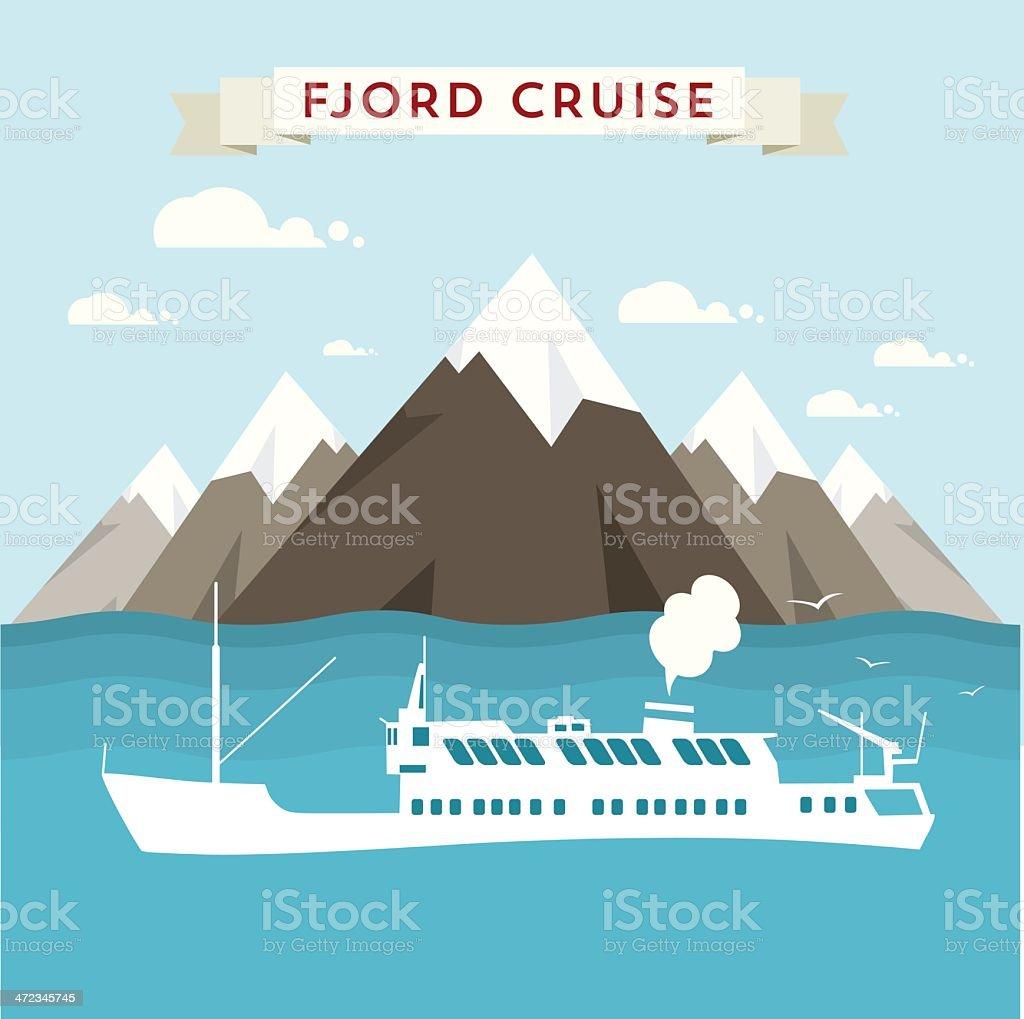 Fjord cruise vector art illustration