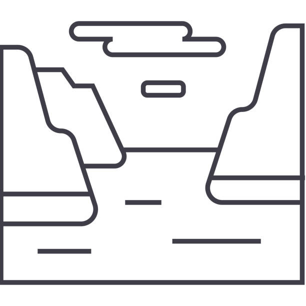 illustrazioni stock, clip art, cartoni animati e icone di tendenza di fjord  vector line icon, sign, illustration on background, editable strokes - fiordi