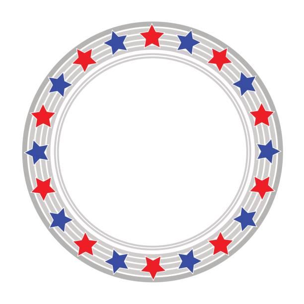 USA flag abstract round symbol vector art illustration